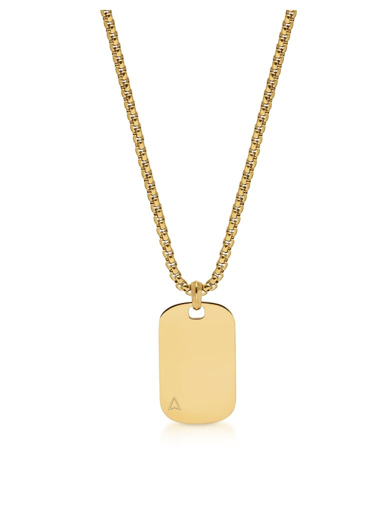 Northskull Id Tag Necklace In Yellow Gold - Gold