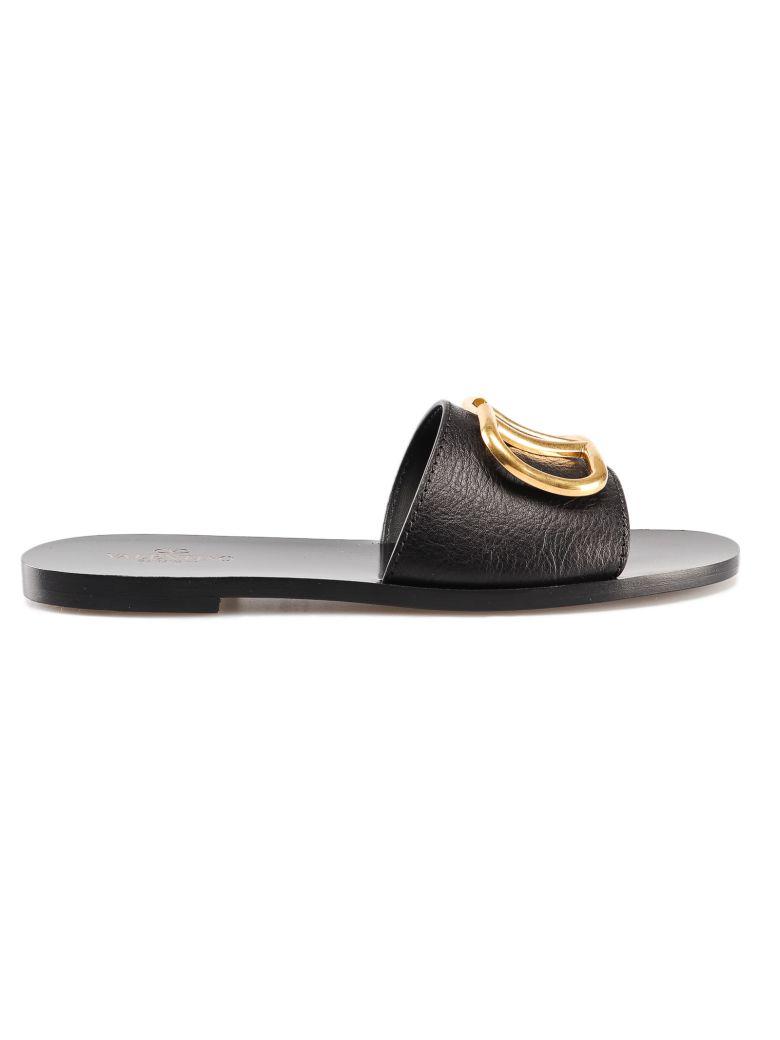 Valentino Garavani V-logo Flat Sandals - No Nero