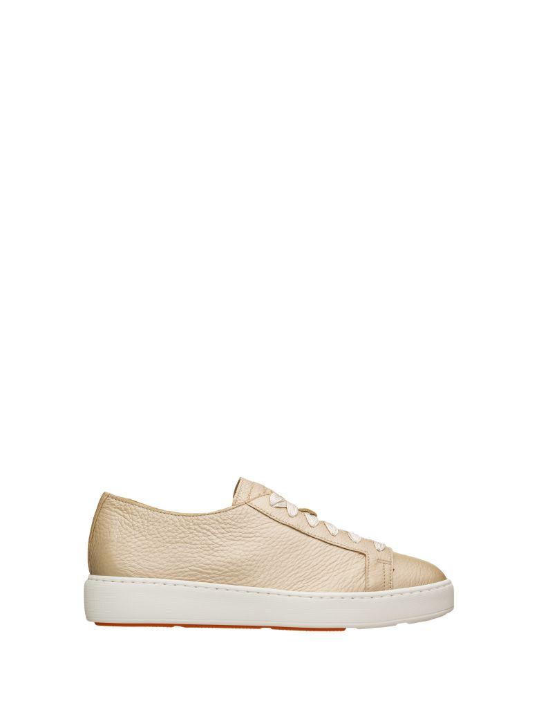 Santoni Santoni Laminated Leather Sneakers - PLATINO
