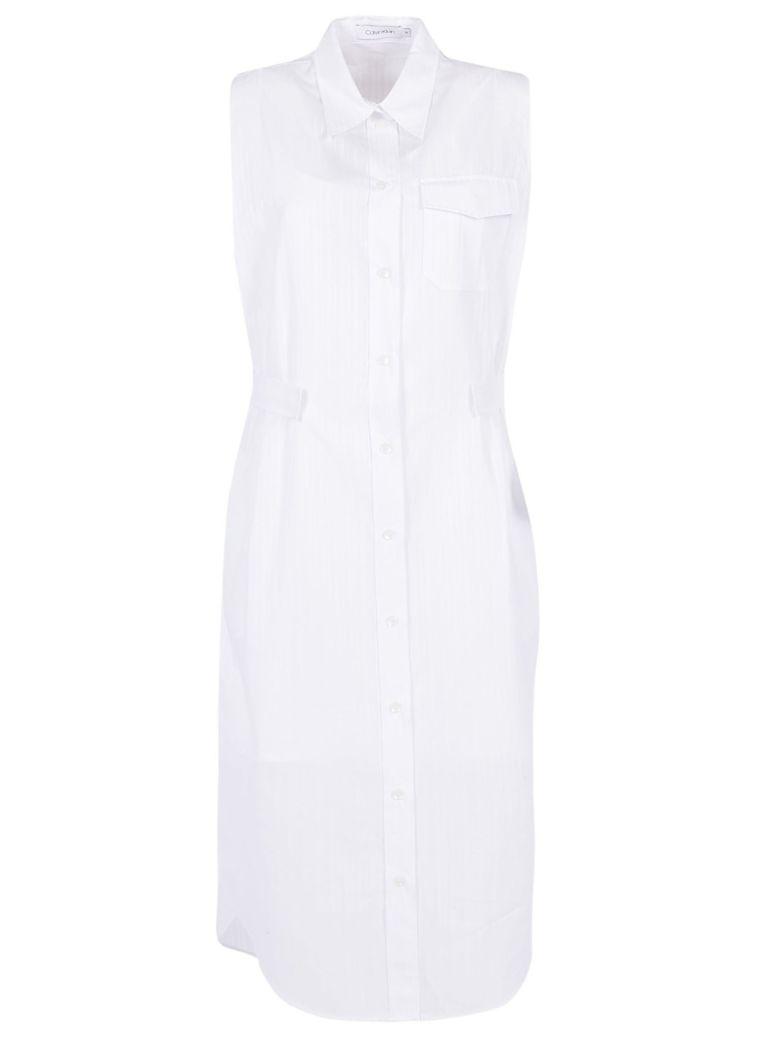 Calvin Klein Shirt Dress - White/white stripe