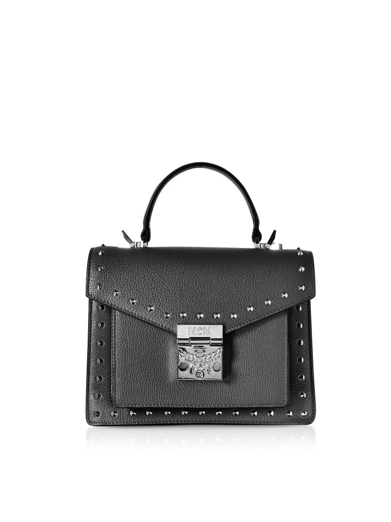MCM Small Patricia Studded Park Avenue Satchel Bag - Black