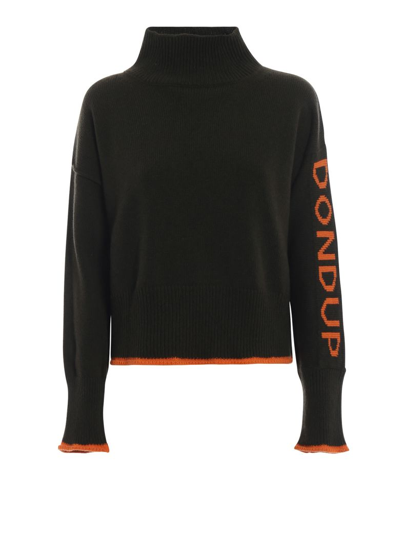 Dondup Pullover With Contrasting Logo Knit - Green