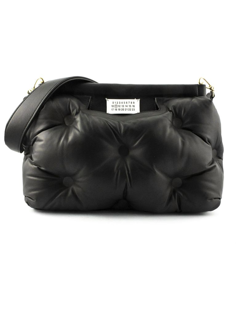 Maison Margiela Black Glam Slam Medium Bag In Black Leather - Nero