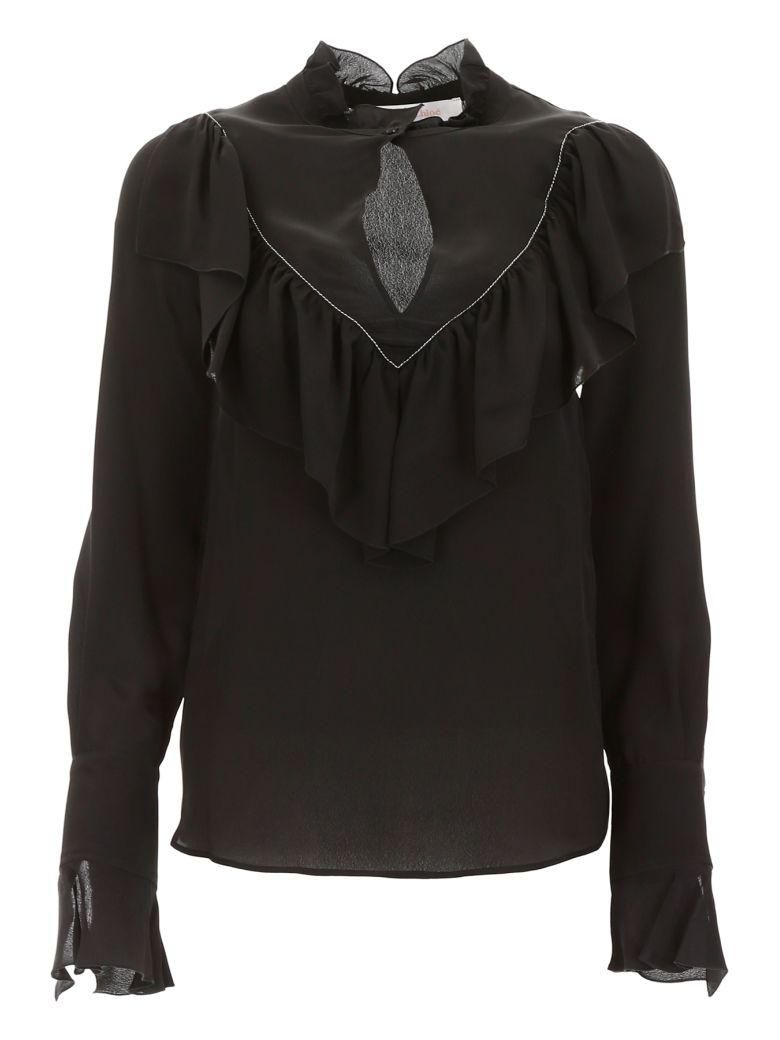 See by Chloé Ruffled Blouse - BLACK (Black)