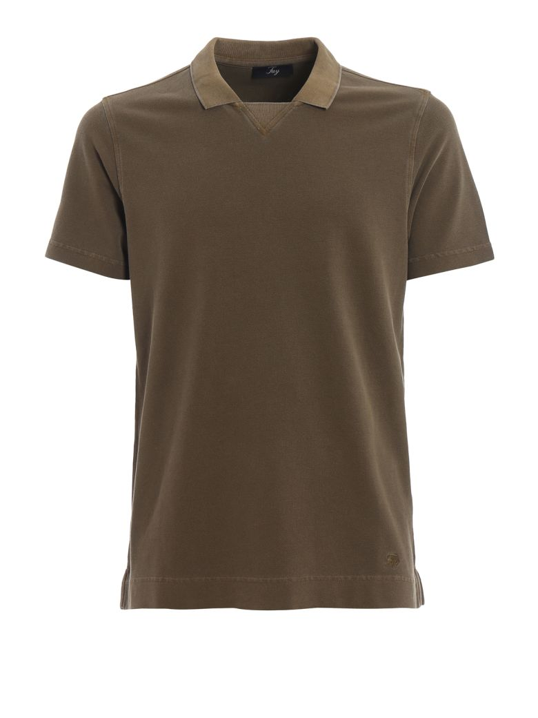 Fay Army Green Cotton Piquet Polo Shirt - Militar green