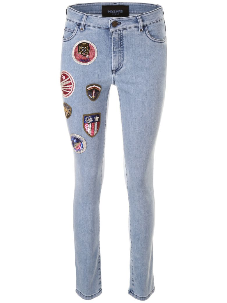 Mr & Mrs Italy Skinny Jeans With Patches - LT BLUE DENIM|Blu