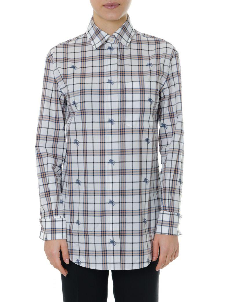 Burberry Shirt In Fil Coupé Print Check Logo Equestrian Knight - Light blue