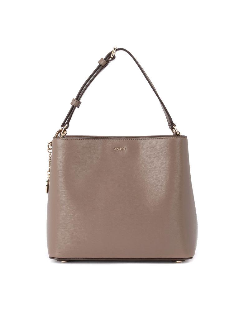 DKNY Bryant Sand Leather Bucket Bag - GRIGIO