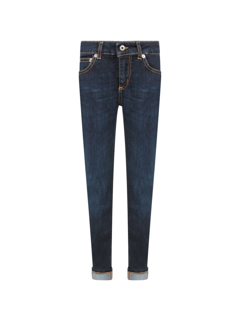 Dondup BLUE MONROE GIRL JEANS WITH ICONIC D
