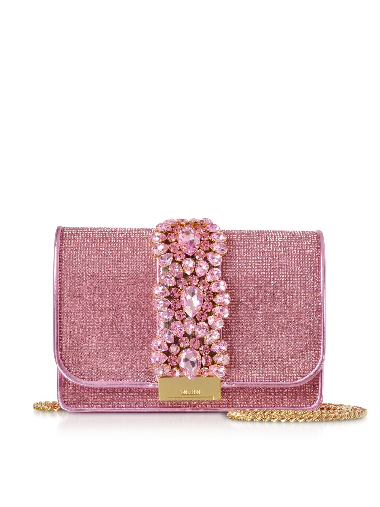 Gedebe Cliky Light Rose Crystals Clutch - Pink