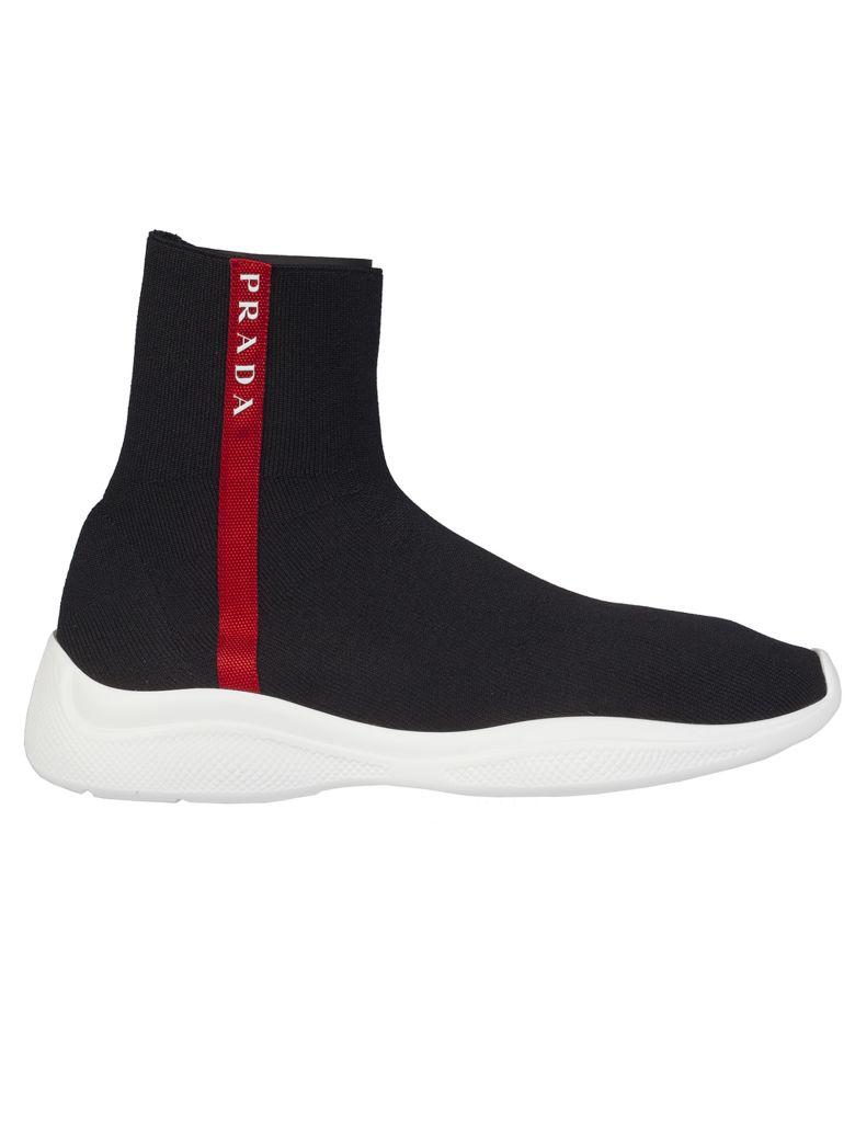 Prada Linea Rossa Sock Hi-top Sneakers - Black