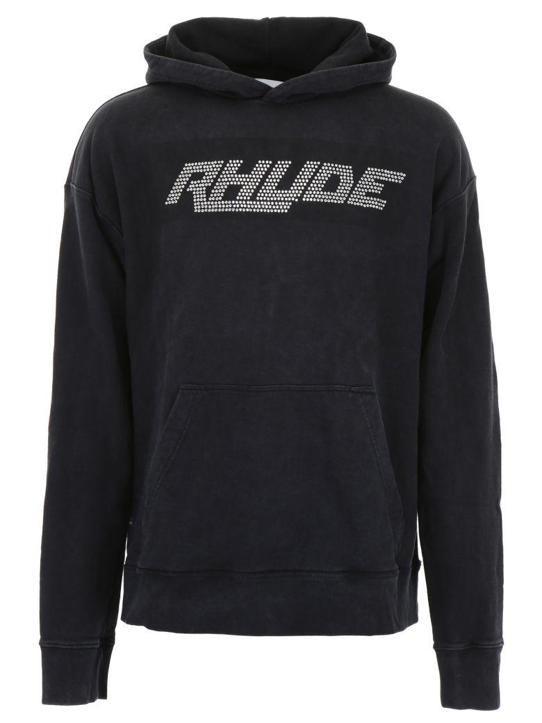Rhude Swarovski Logo Hoodie - BLACK CRYSTAL BLACK (Black)