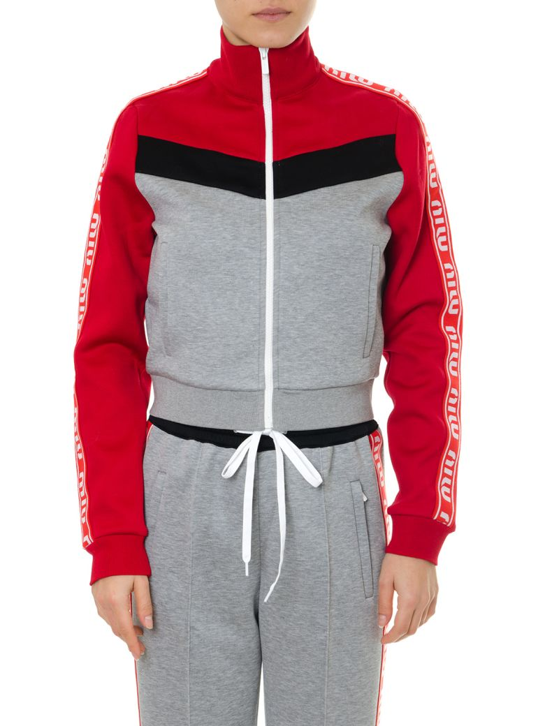 Miu Miu Gray And Red Track Jacket In Cotton - Gray/red