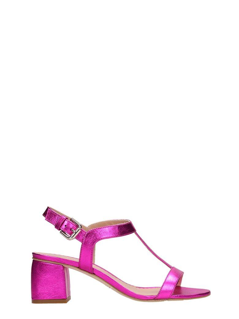 Julie Dee Fucsia Metal Leather Sandals - Purple