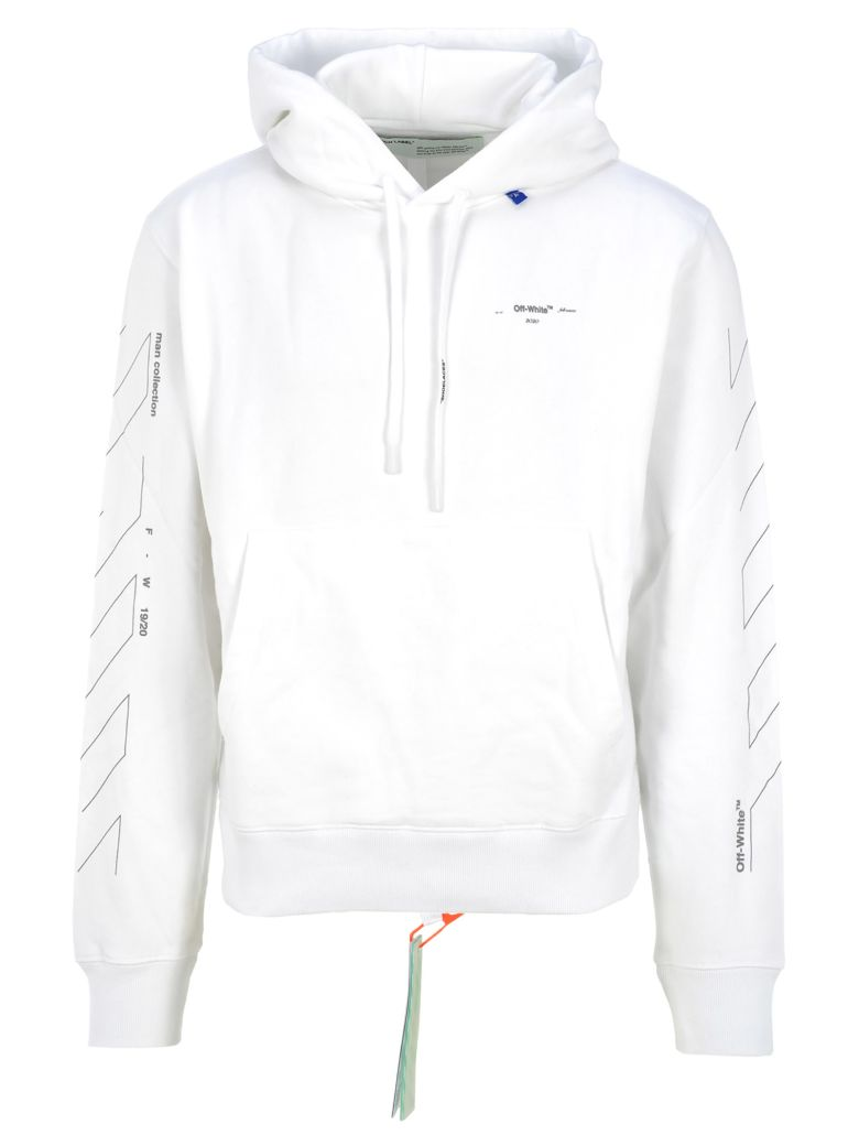 Off-White Off White Unfinished Logo Print Hoodie - WHITE