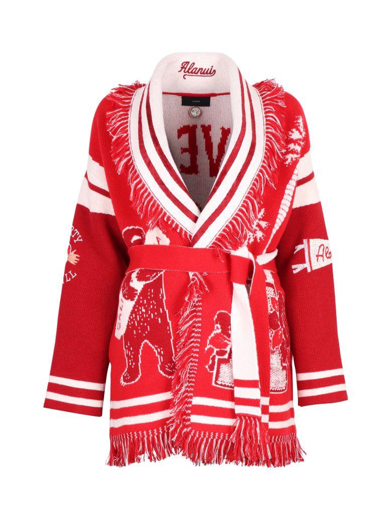 Alanui Fringed Wool-blend Cardigan - red