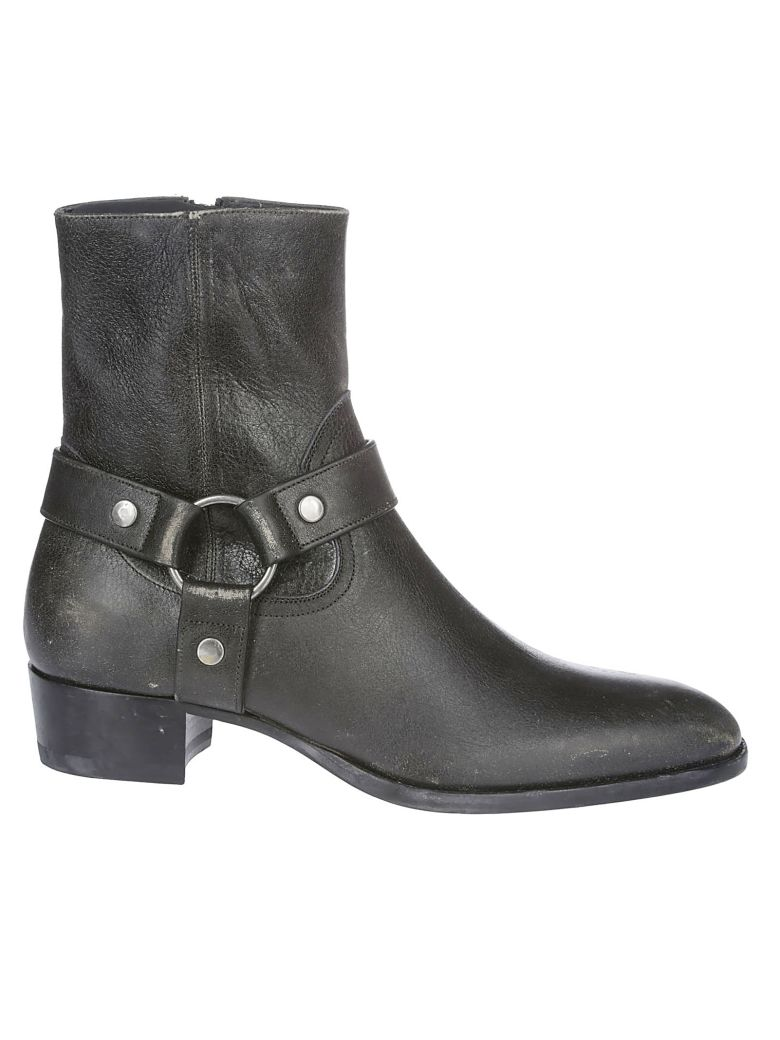 Saint Laurent Wyatt Ankle Boots - WASHED BLACK