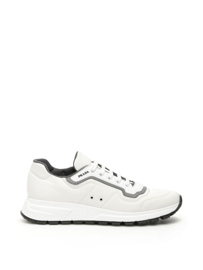 Prada Soft Gabardine Sneakers - BIANCO ACCIAIO (White)