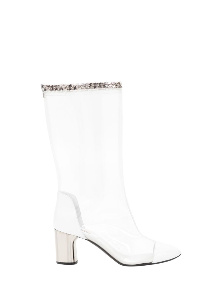 Casadei Transparent Boots With Chain - White