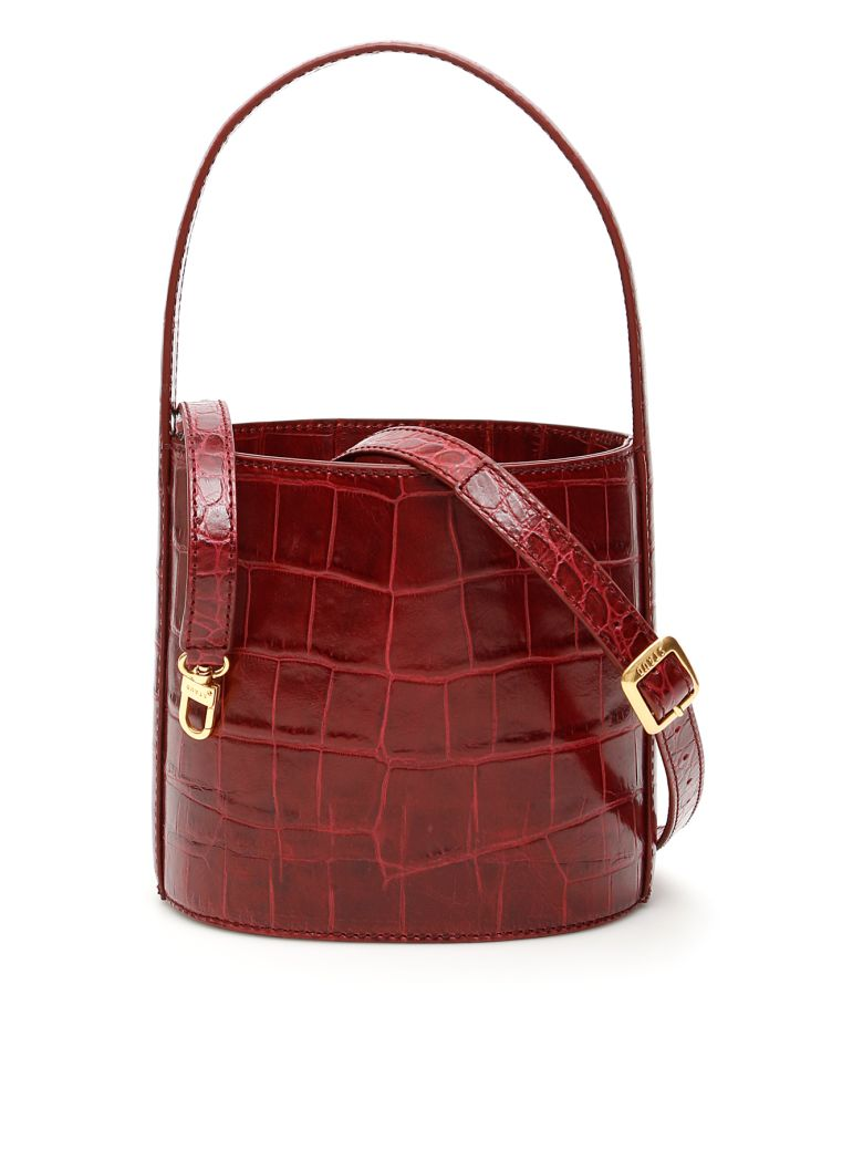 STAUD Croc-print Bisset Bucket Bag - Basic