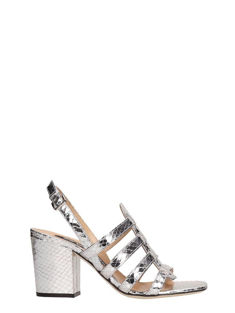 Sergio Rossi Silver Crepe Leather Sandals - silver