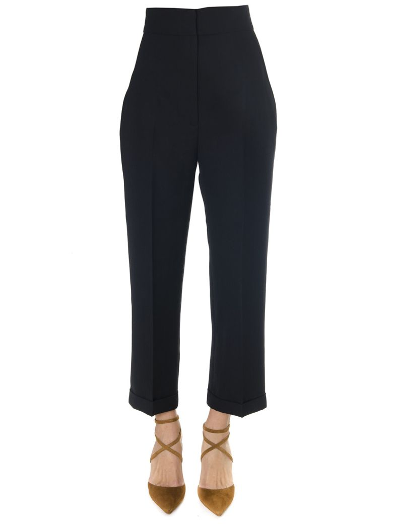 Jacquemus Black Cropped High Waisted Trousers In Wool Blend - Black
