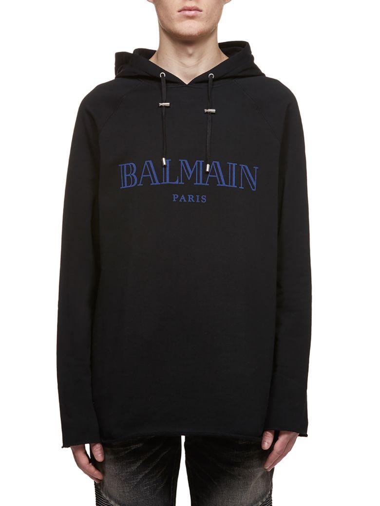 Balmain Logo Print Hoodie - Nero blu