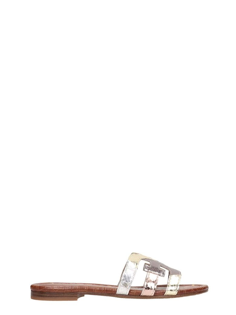 Sam Edelman Silver Laminated Leather Bay Sandals - Gold