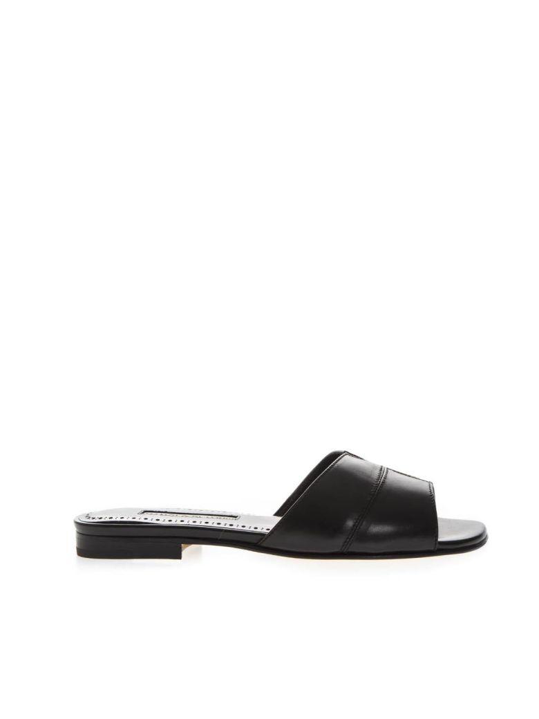Manolo Blahnik Black Leather Slippers - Black