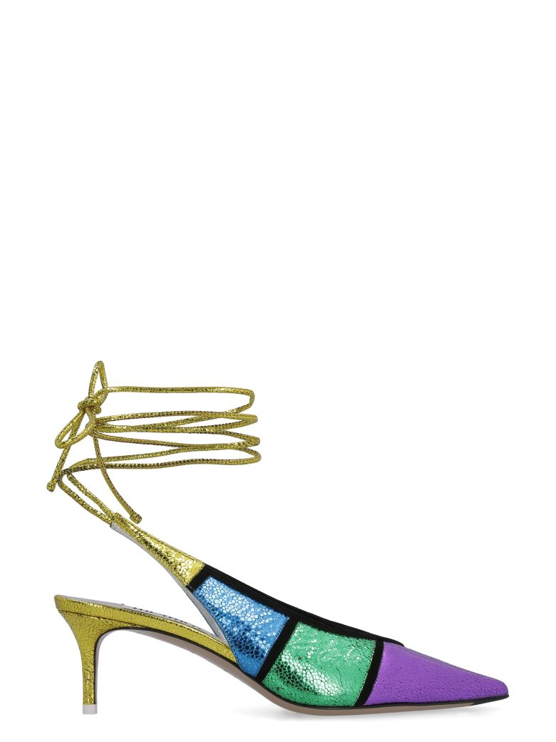 The Attico Leather Pointy-toe Slingback - Multicolor