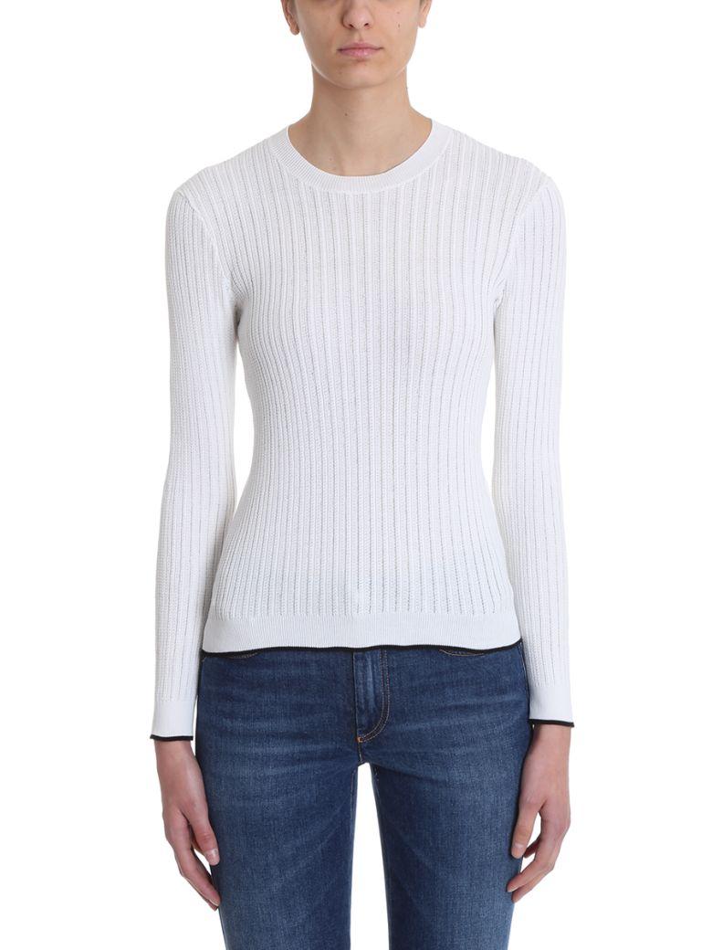 Sonia Rykiel Ribbed White Cotton Sweater - white