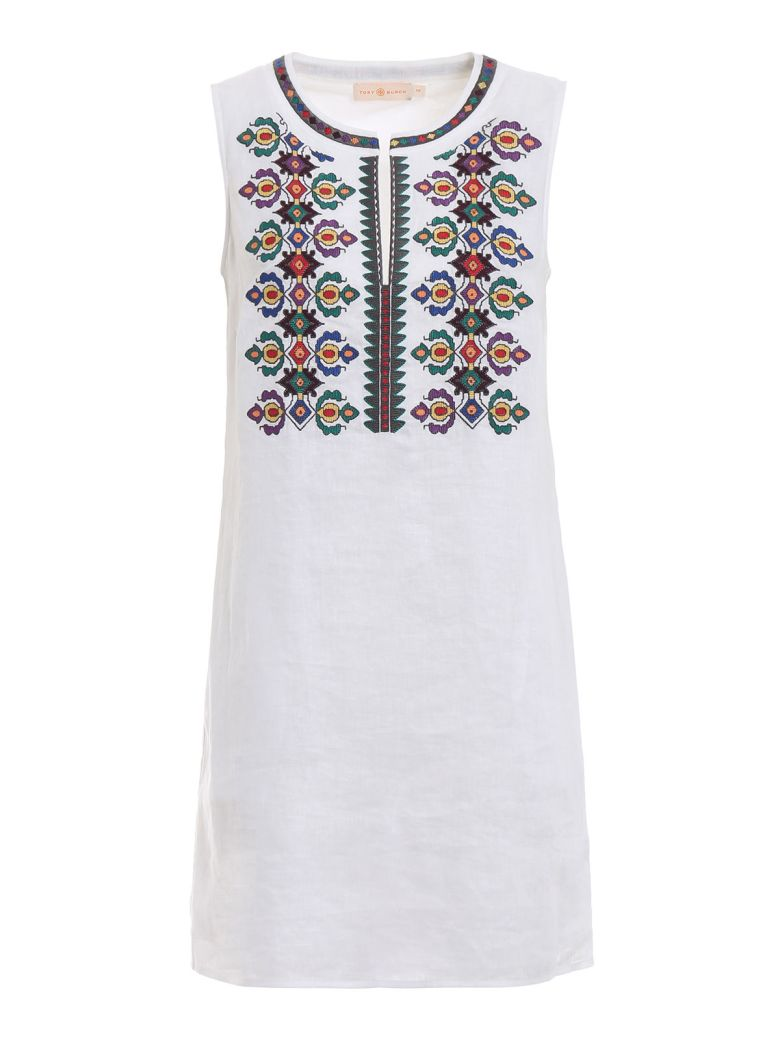 Tory Burch Embroidered Shift Dress - White