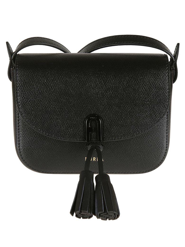 Furla Tassel Embellished Shoulder Bag - black