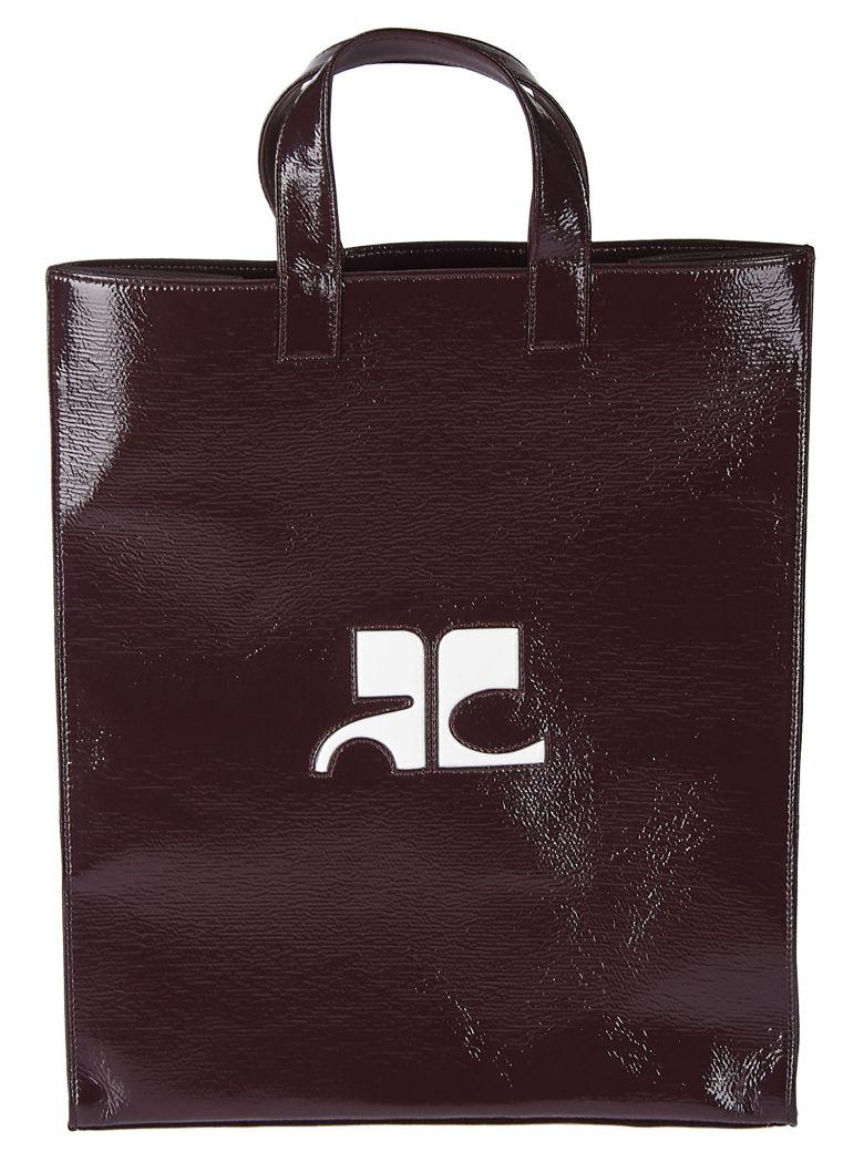 Courrèges Logo Shopper Bag - Bordeau