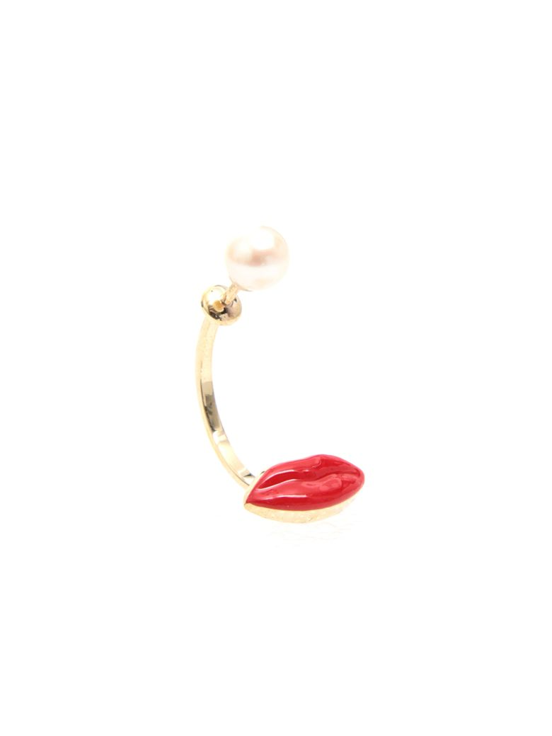 Delfina Delettrez Lips Earring 9kt Gold - RED|Rosso
