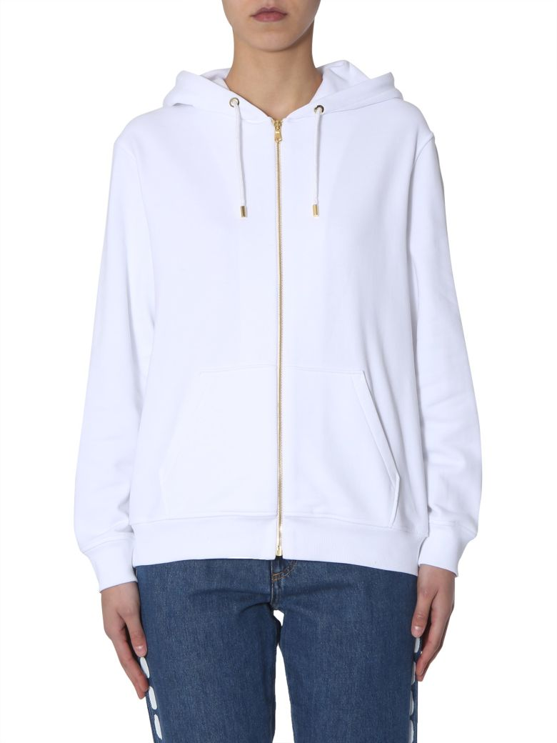 Moschino Hooded Sweatshirt With Zip Closure - BIANCO