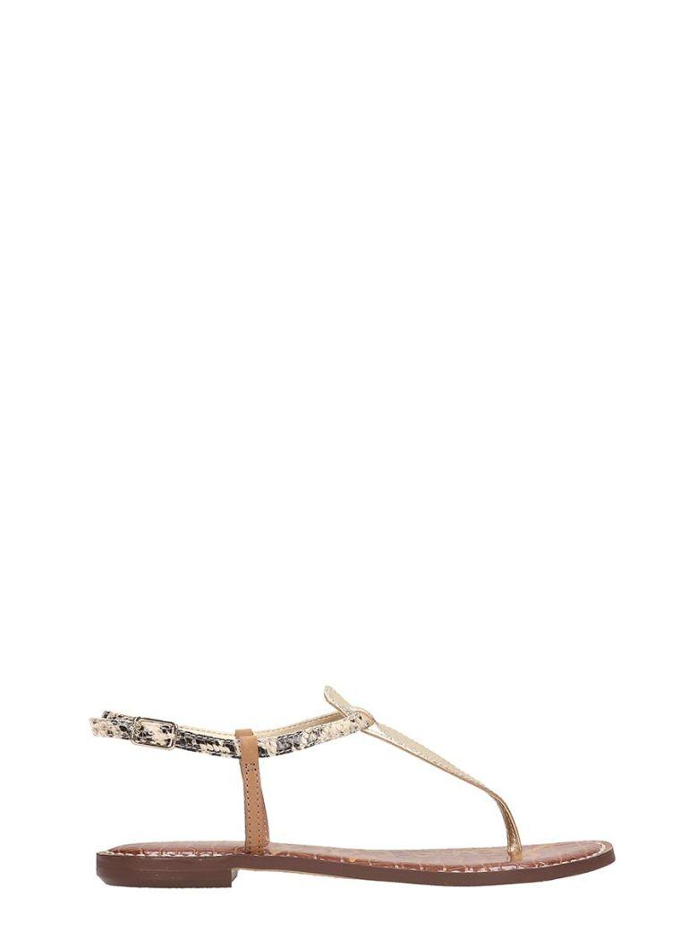 Sam Edelman Gold Leather Flats Sandals - Gold