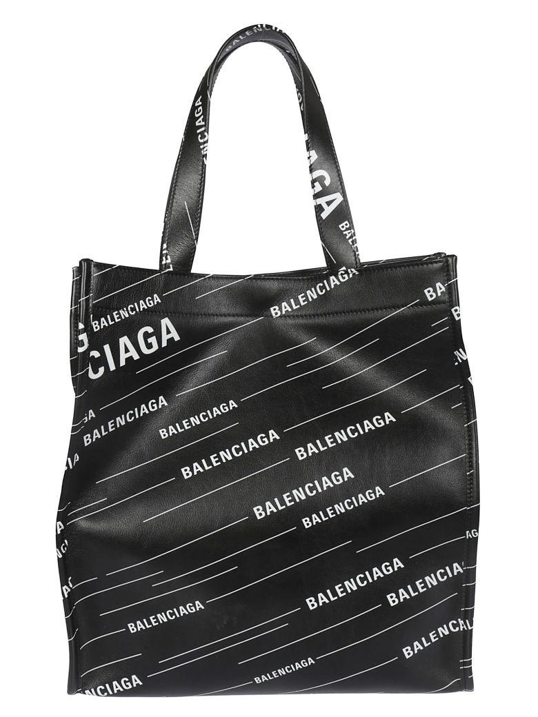 Balenciaga Logo Allover Print Tote - Noir Blanc