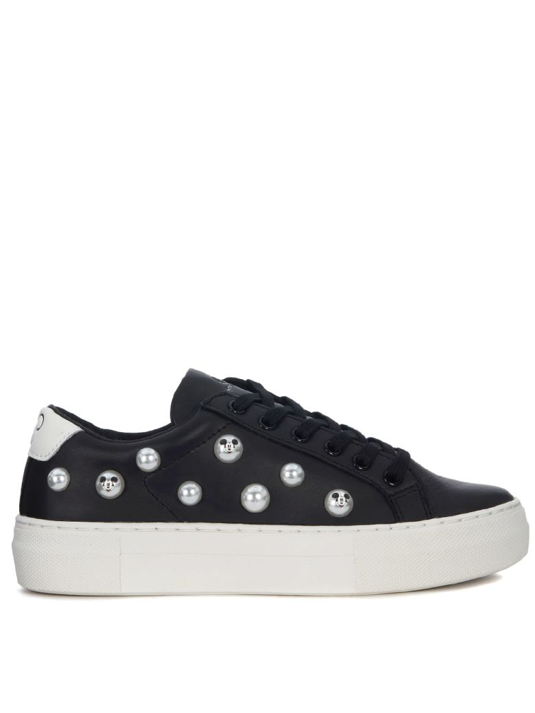 M.O.A. master of arts Moa Mickey Mouse Black Leather Sneaker With Pearls - Black