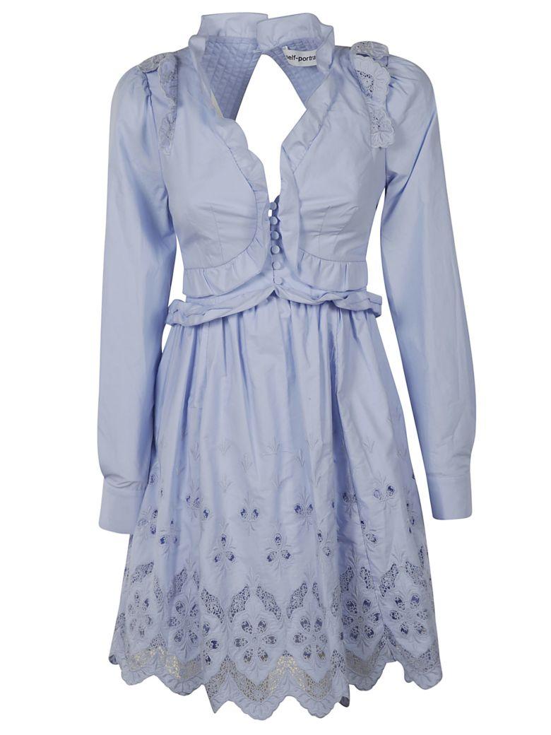 self-portrait Broderie Mini Dress - Light Blue