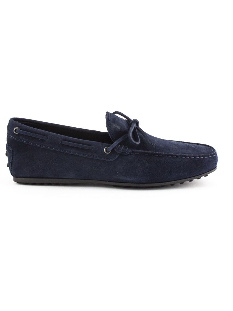 Tod's City Gommino Driving Shoes In Blue Suede - Blu