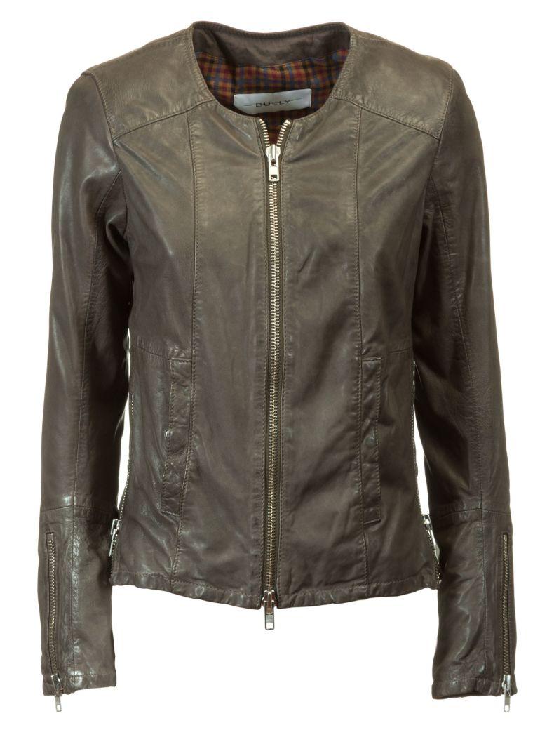 Bully Zipped Up Biker Jacket - Brown