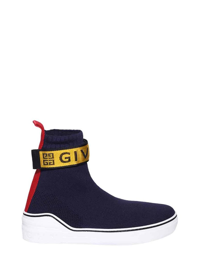 Givenchy Knitted 4g Web Sneakers - Blue/yellow