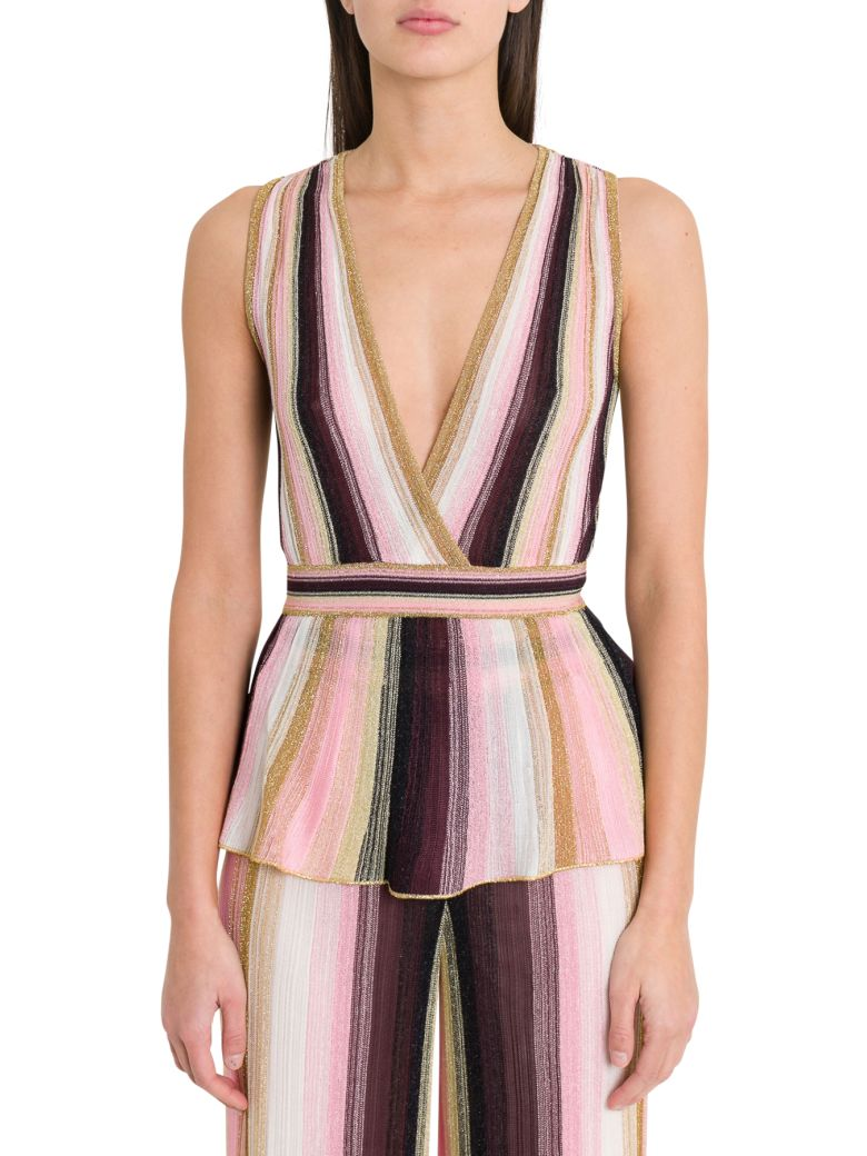 M Missoni Top With Stretch Waist And Basque Style - Multicolor
