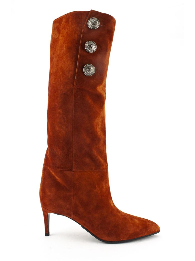 Balmain Jane Russet Suede Ankle Boots - Ruggine