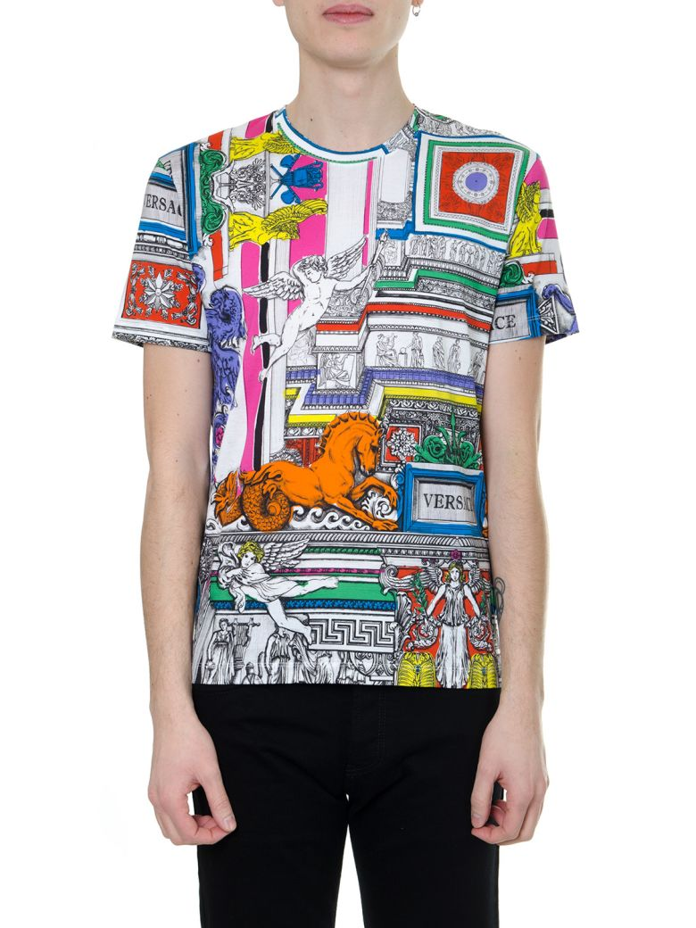 "Versace Multicolor Print ""il Tempio"" T-shirt In Cotton - Multicolor"