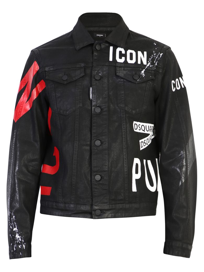 Dsquared2 Printed Denim Jacket - Black