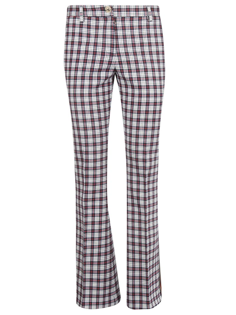 Tommy Hilfiger Checked Flared Trousers - Snow White Multi