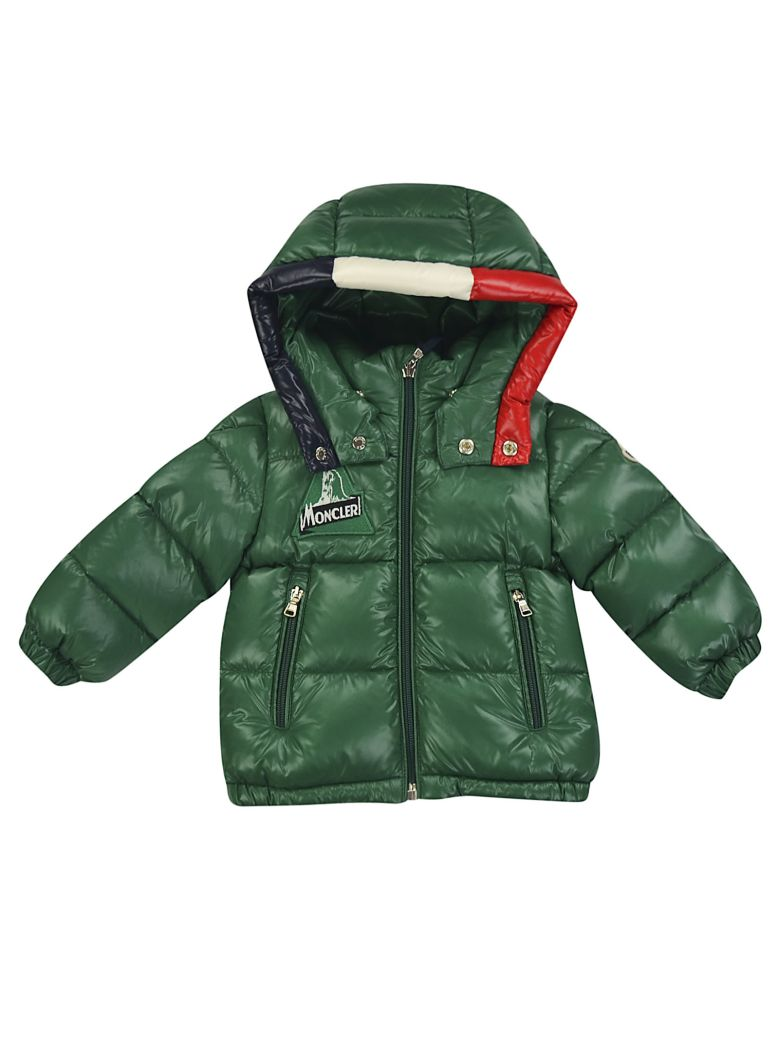 Moncler Babies' Logo Patch Padded Coat In Verde