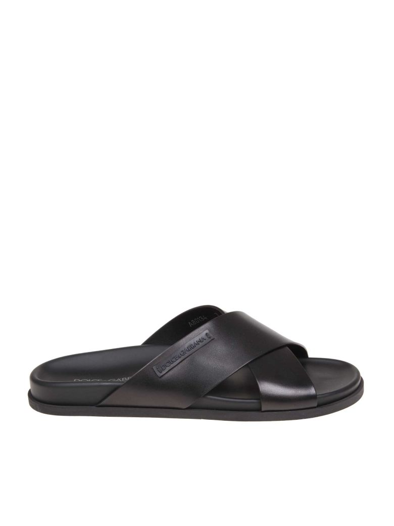 Dolce & Gabbana Hawaii Slippers In Black Color Leather - Black